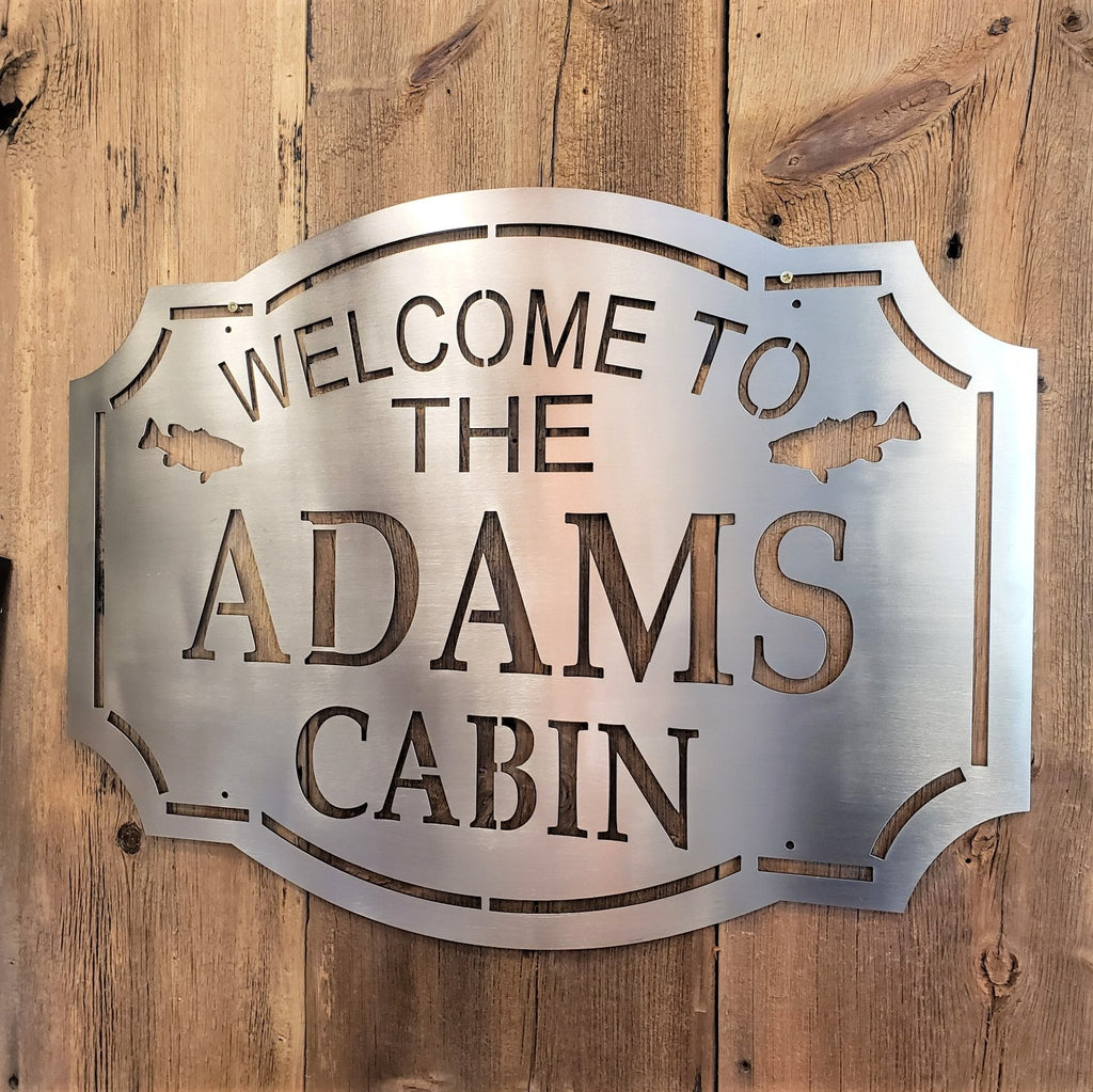 image of Custom Welcome to our cabin name metal signs