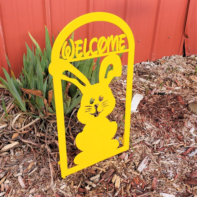 image of Cute Bunny Welcome Garden Decor Metal Sign