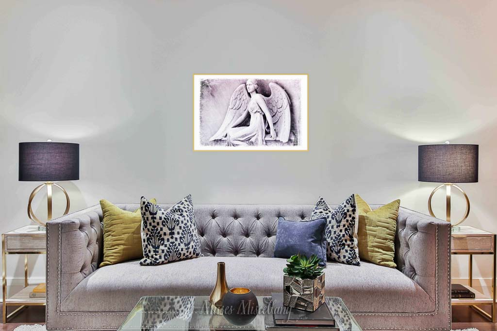 """""""Angel of Atlanta"""" Poster, 36x24"""" mockup in a living room with purple and gold accents."""