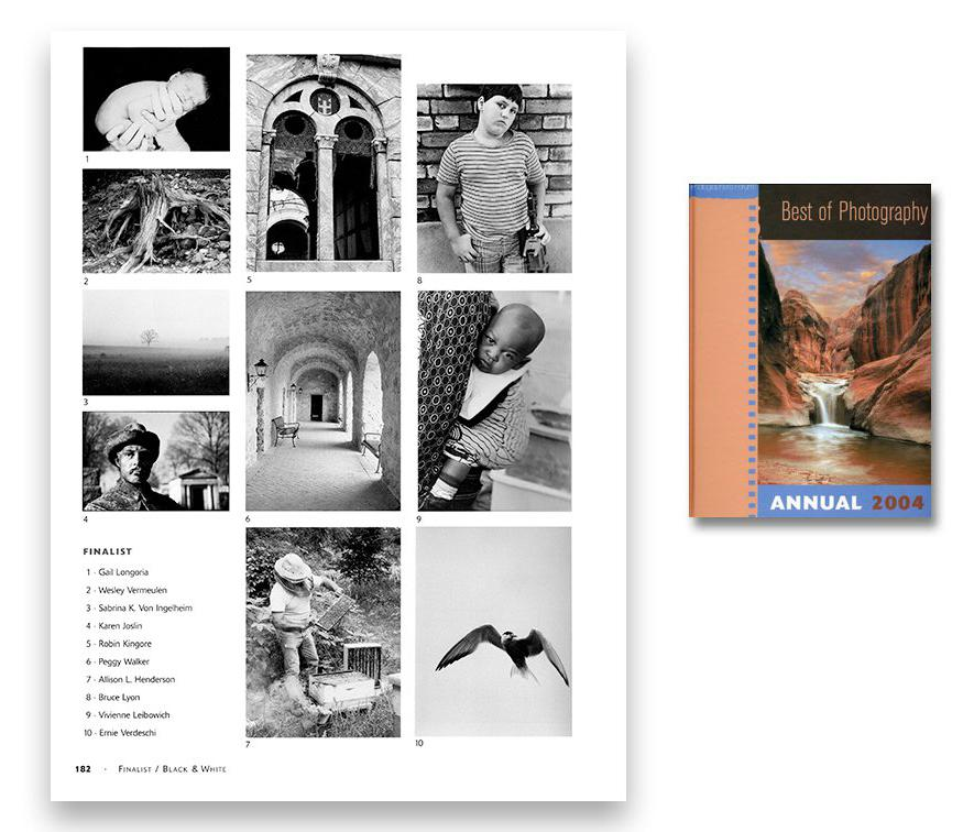"""Best Photo Annual 2004 - cover and page 182, with Karen Joslin's finalist photo, """"Time Marches On"""""""