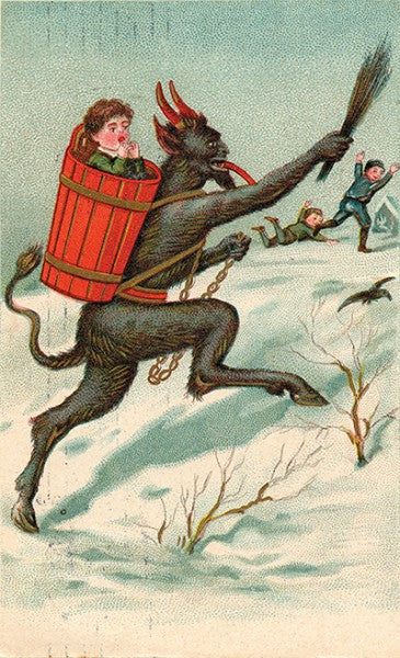 Terrified boys run from Krampus, who's already captured one naughty child