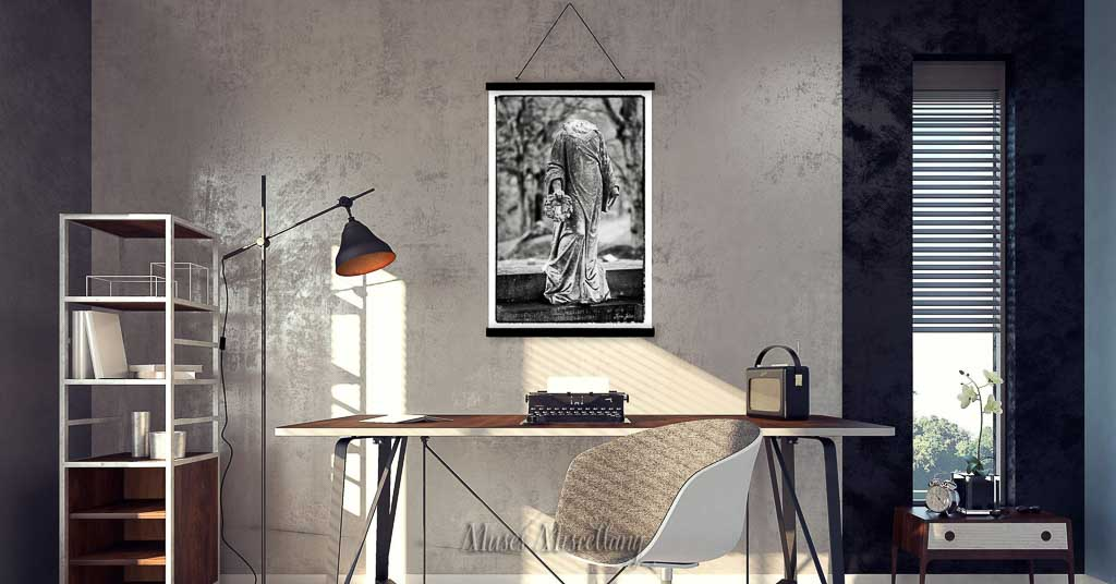 """""""Desecration 1"""" Poster, 24x36"""" in home office"""