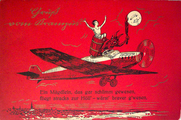 Krampus abducts a flapper by airplane
