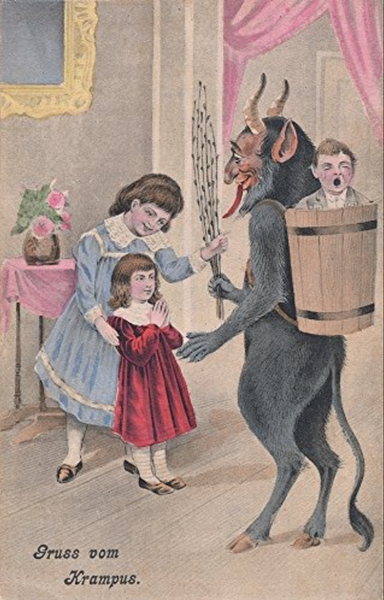 Sisters jubilantly watch Krampus abduct their brother