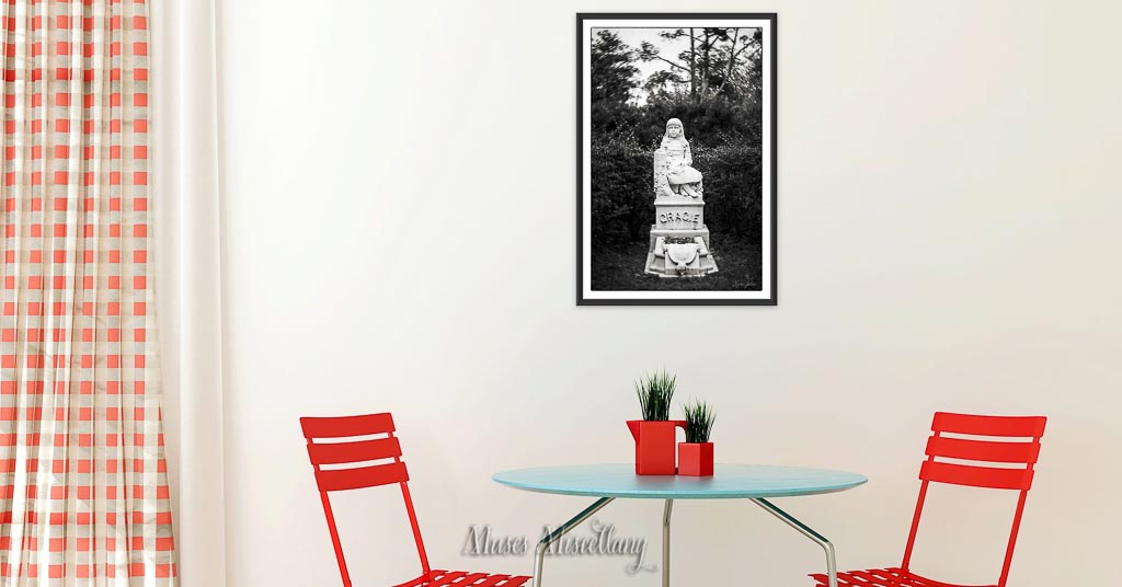 """""""Gracie"""" Poster, 24x36"""" hanging in a kitchen with red accents"""