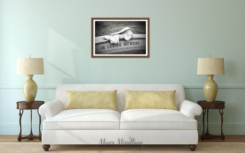 """""""In Loving Memory"""" Poster, 36x24"""" above cozy couch in living room"""