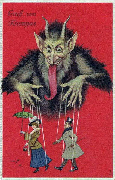 Krampus as puppet master of wealthy Victorian couple