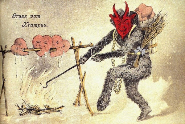 Krampus roasts hearts on a spit over an open flame