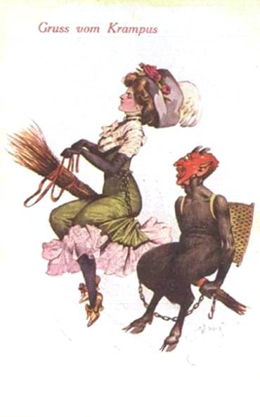 Victorian lady flies a besotted Krampus around on his bundle of branches