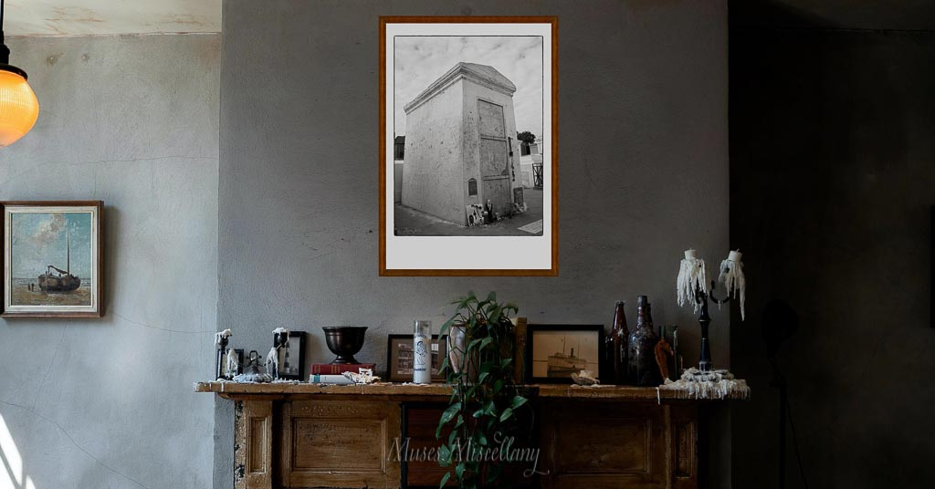 """""""Offerings"""" Poster, 24x36"""" hanging over a fireplace mantel"""