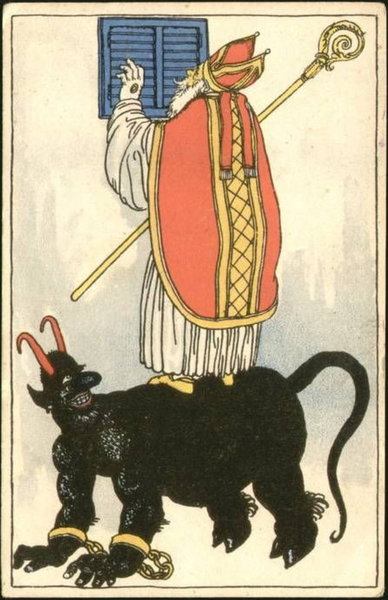 Krampus kneels so St. Nick can stand on his back to peer into someone's window