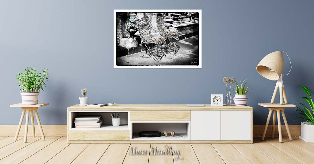 """""""Sit a Spell"""" Poster, 36x24"""" hanging over credenza"""