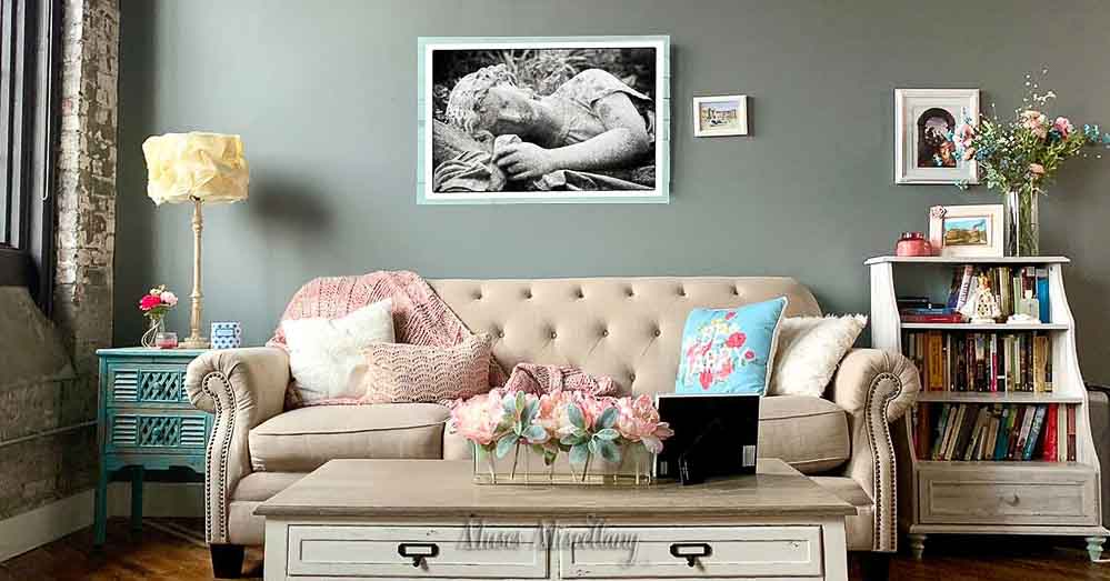 """""""Sleeping Beauty"""" Poster, 36x24"""" hanging in a cozy cottage living room"""