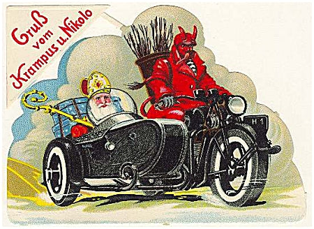 A slick, Italian Krampus drives a motorbike with St. Nick in the sidecar