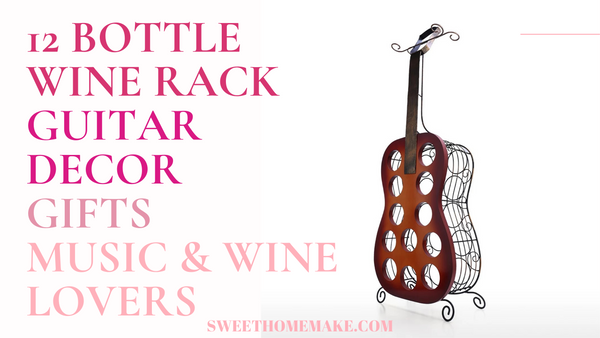 12 Bottle Wine Rack Holder by Guitar Decor Gifts for Music Lovers and Gifts for Wine Lovers