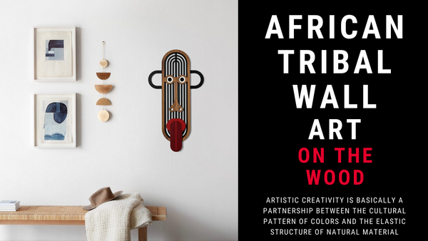 African Wall Art on Wooden Mask Cultural Carnival in the Home Decor