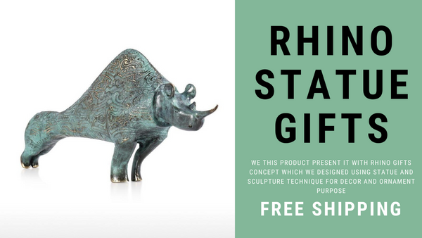 Cultaral and Historical Decorative Pattern Rhino Statue by Bronze as Rhino Gifts & Rhino Ornament