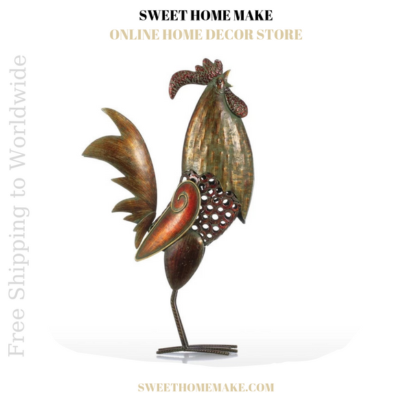 Metal Rooster Statue for Decor and Christmas Gifts