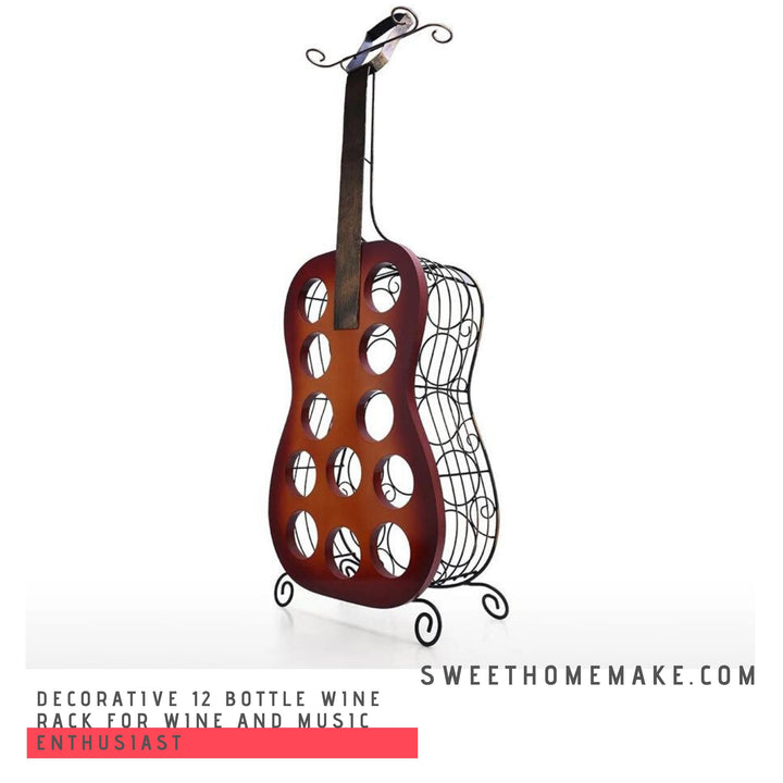 Portable 12 Bottle Wine Rack for Wine and Music Enthusiast Decor