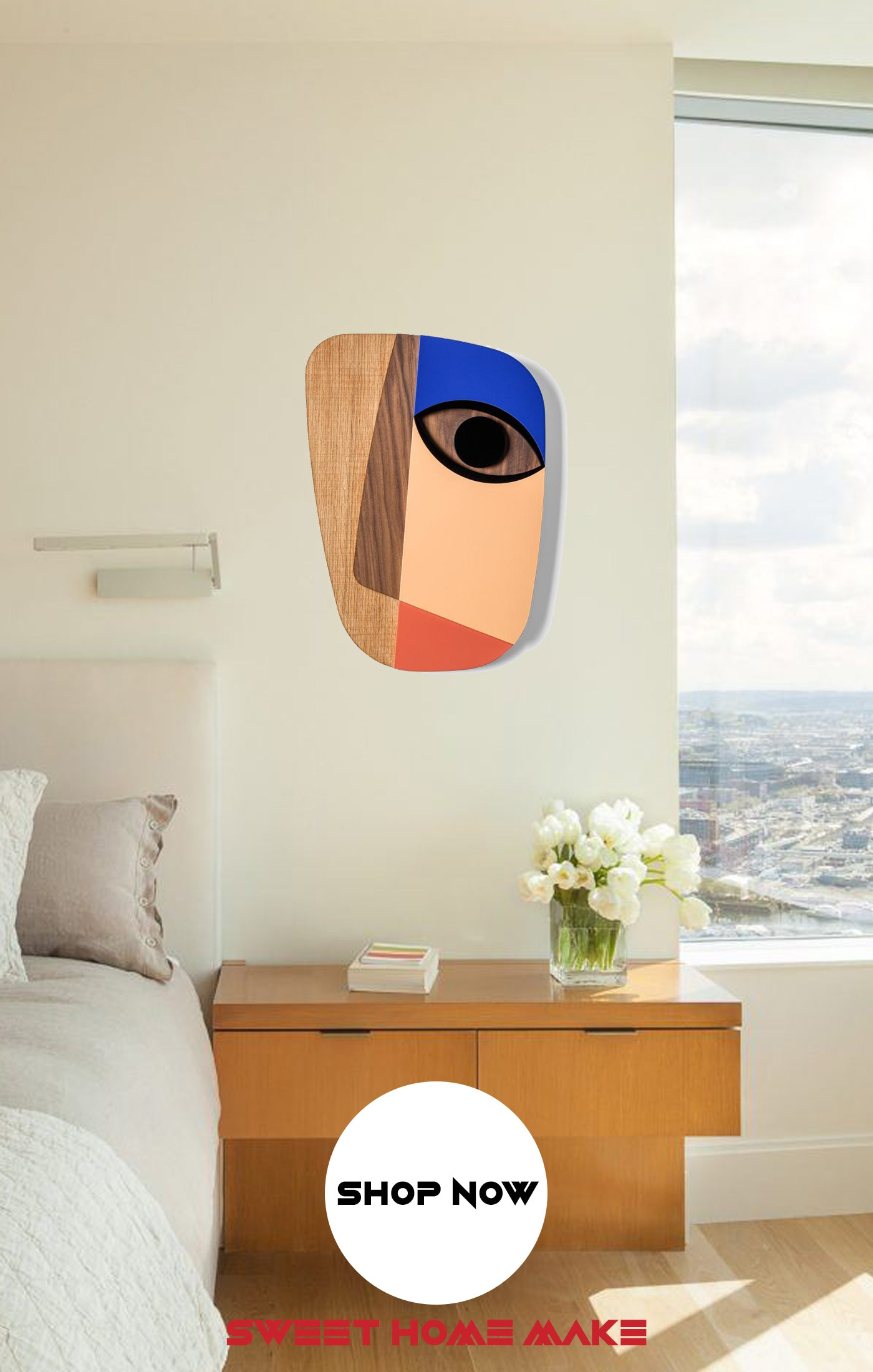 Abstract Modern Wall Art at the Bedroom Wall Decor