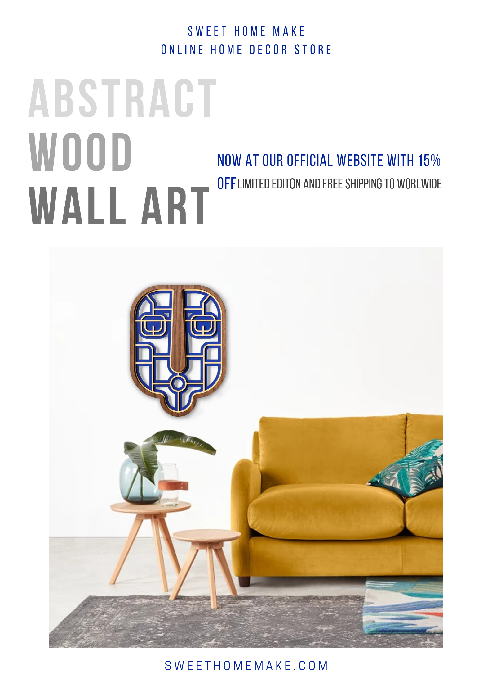 Abstract Wall Decor with Wood Blue Wall Art