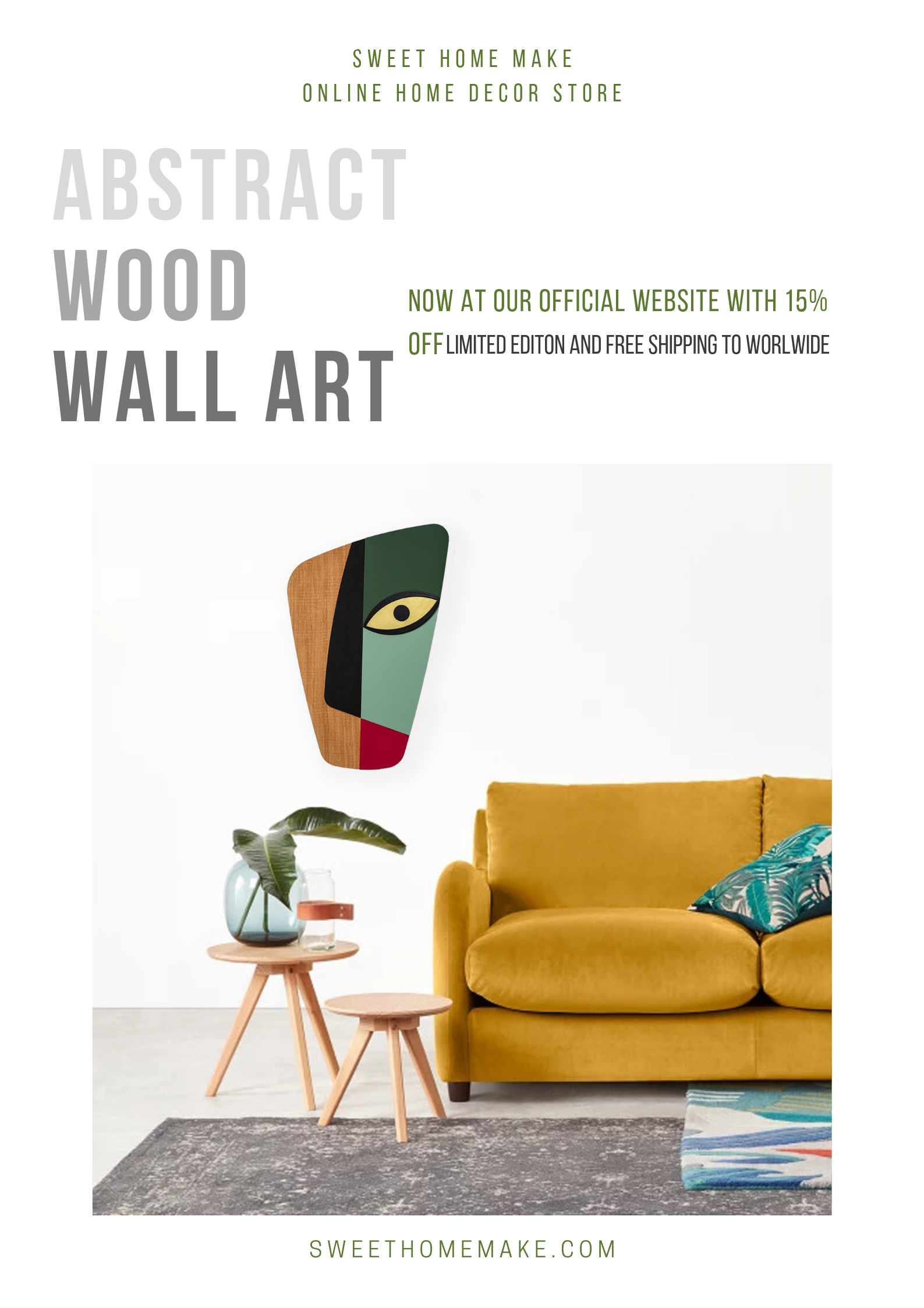 Abstract Wall Decor with Wood Green Wall Art