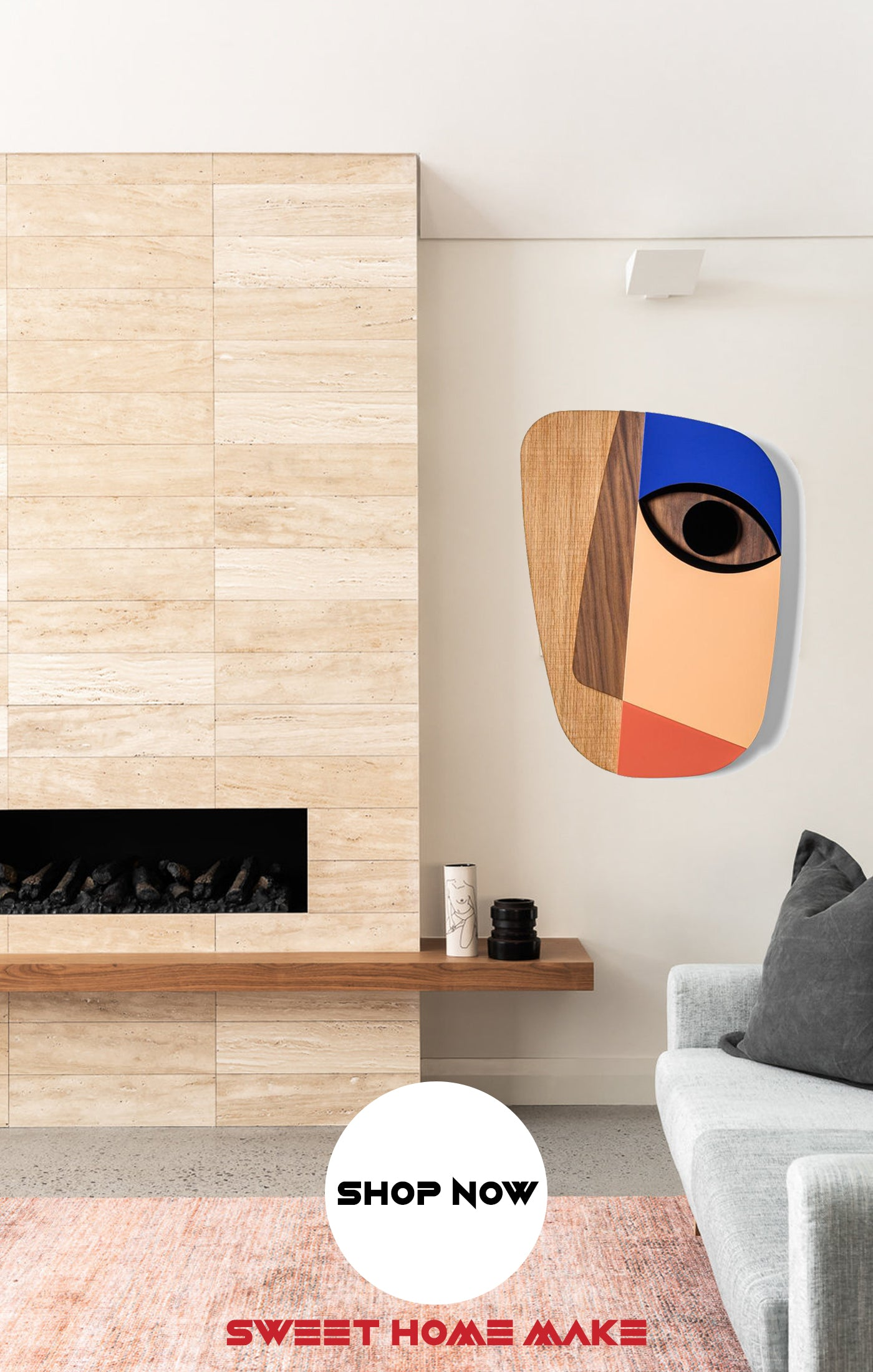 Abstract and Boho Wood Wall Art at the Living Room Wall Decor