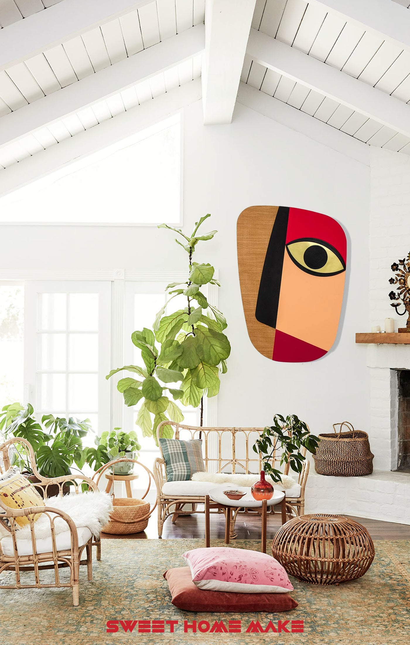 Abstract and Colorful Wood Wall Art at the Boho Living Room Wall Decor