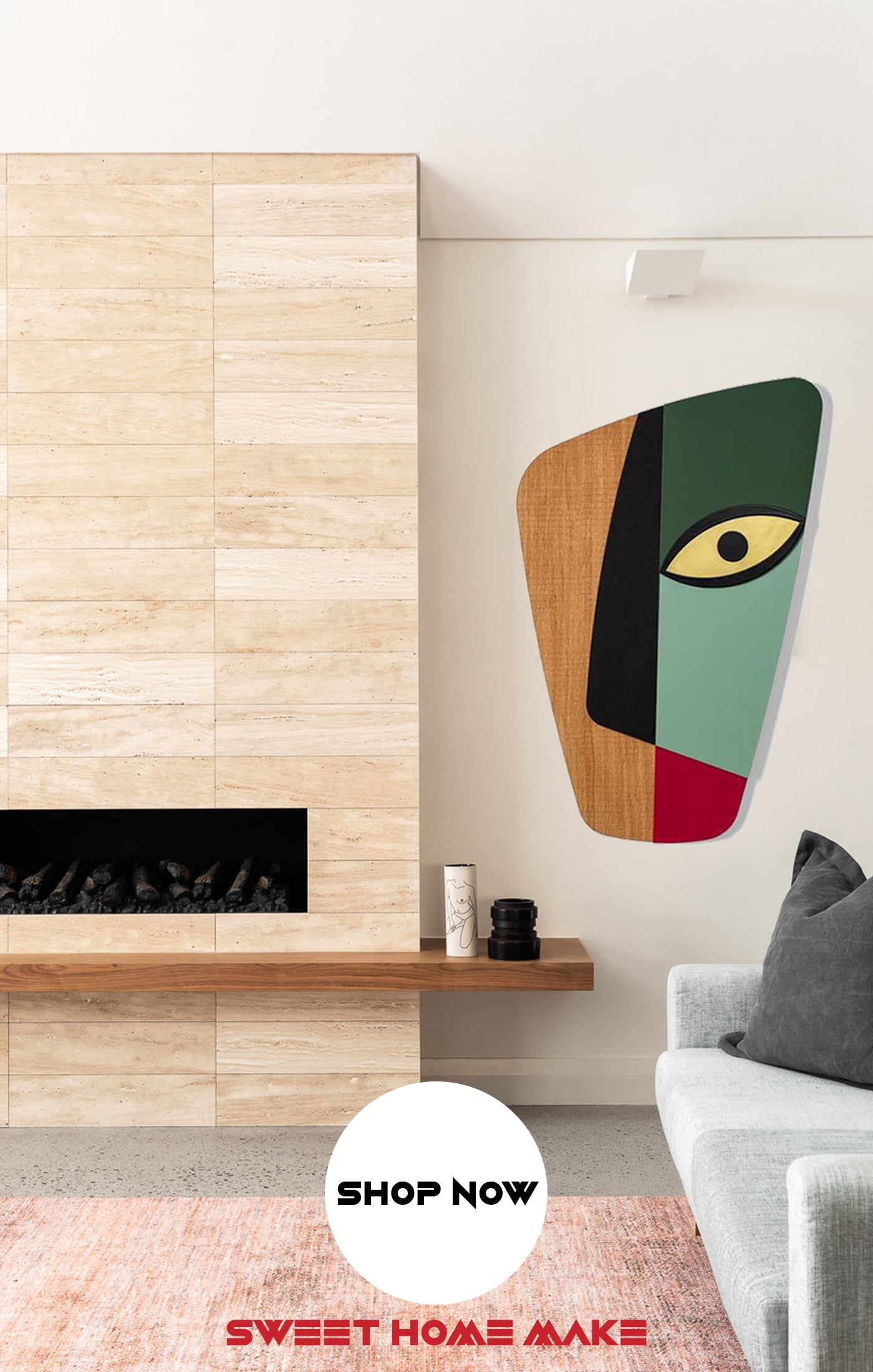 Abstract and Green Colorful Wood Wall Art at the Living Room Wall Decor