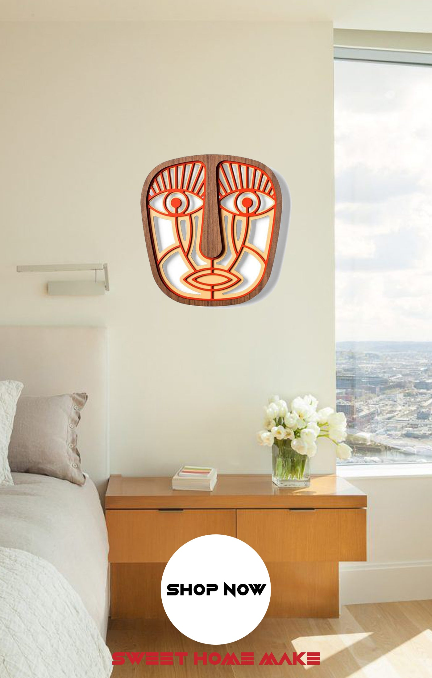 African Mask Modern Wood Wall Art at the Bedroom Wall Decor
