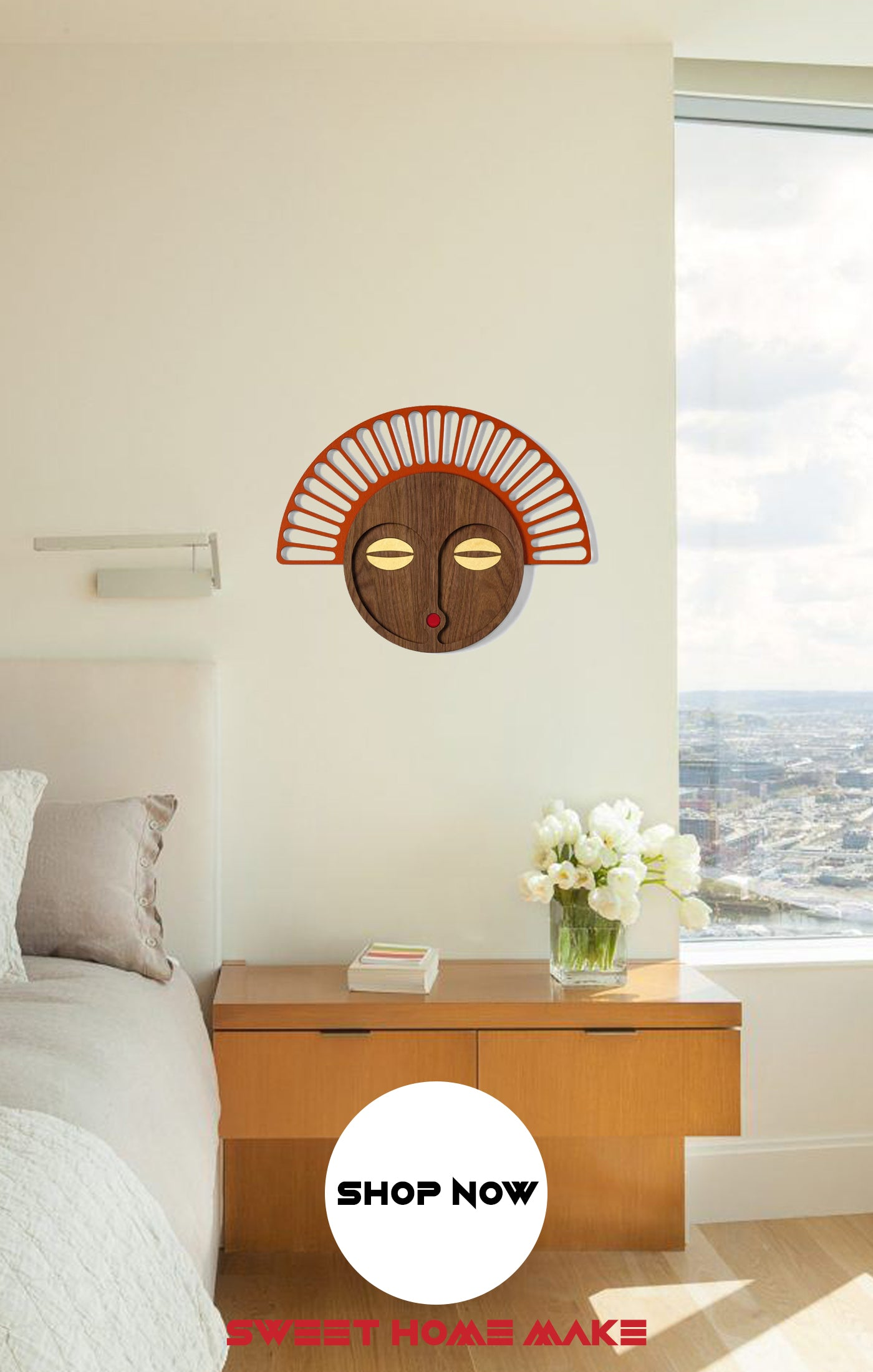 African Mask Tribe Wood Wall Art at the Bedroom Wall Decor
