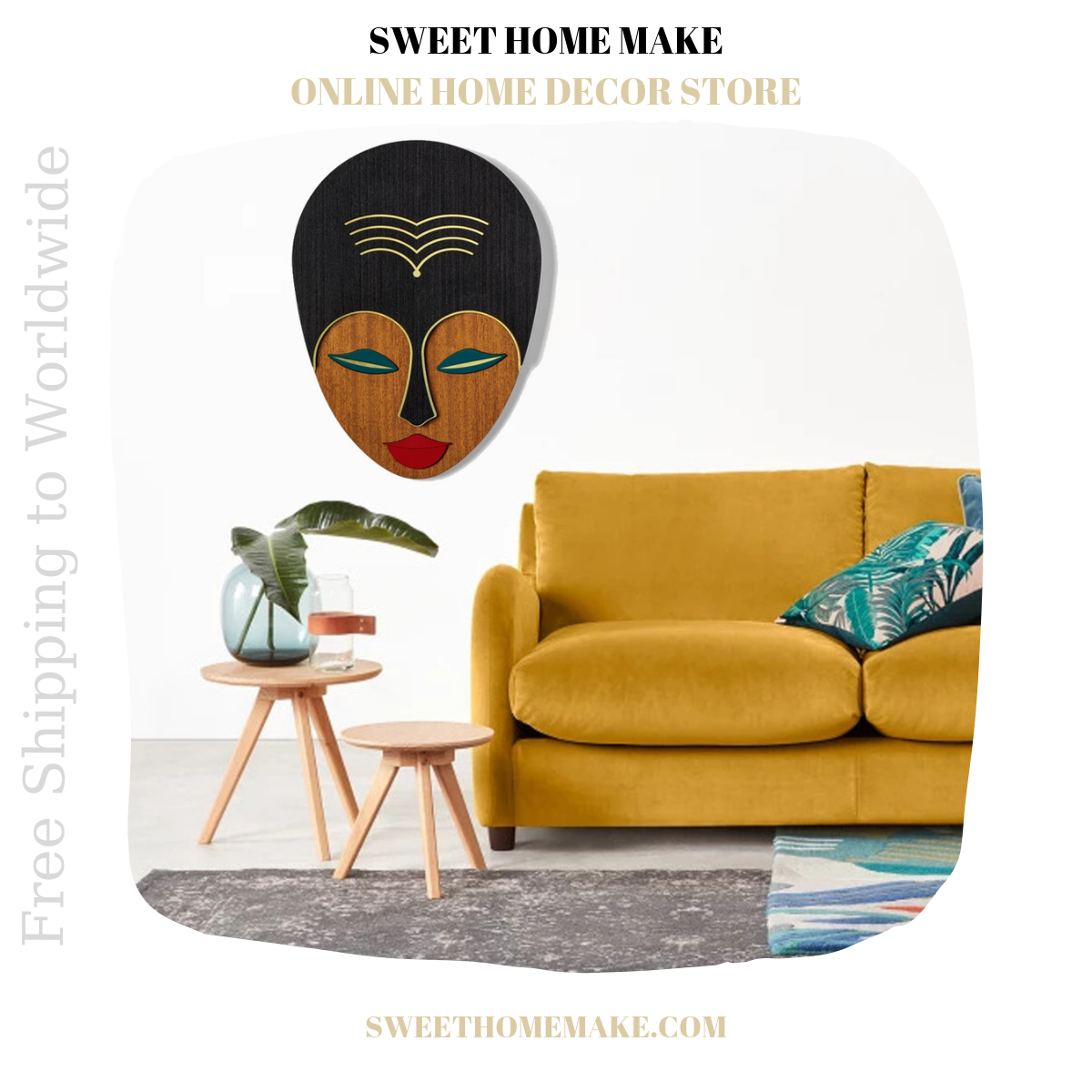 African Wall Mask by Wood Woman Wall Art
