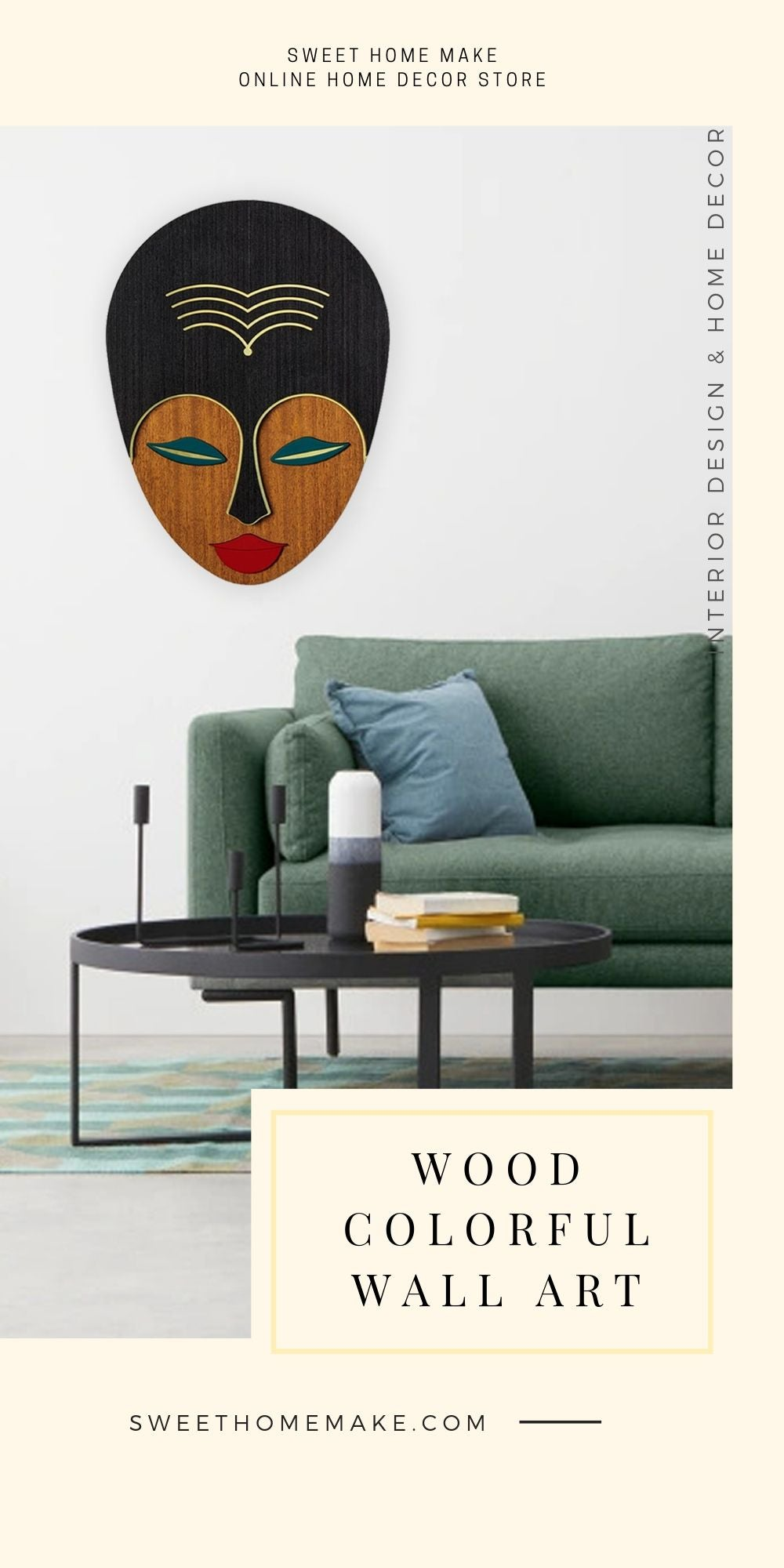 African Wall Mask with Female Face Wall Art