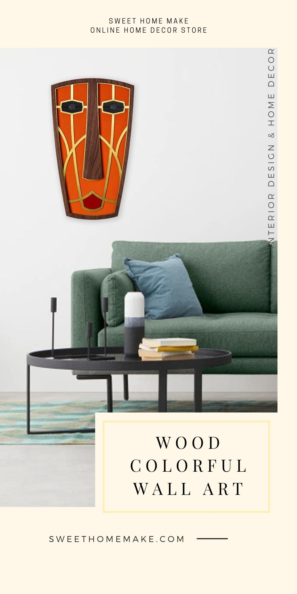African Wall Mask with Modern Wall Art