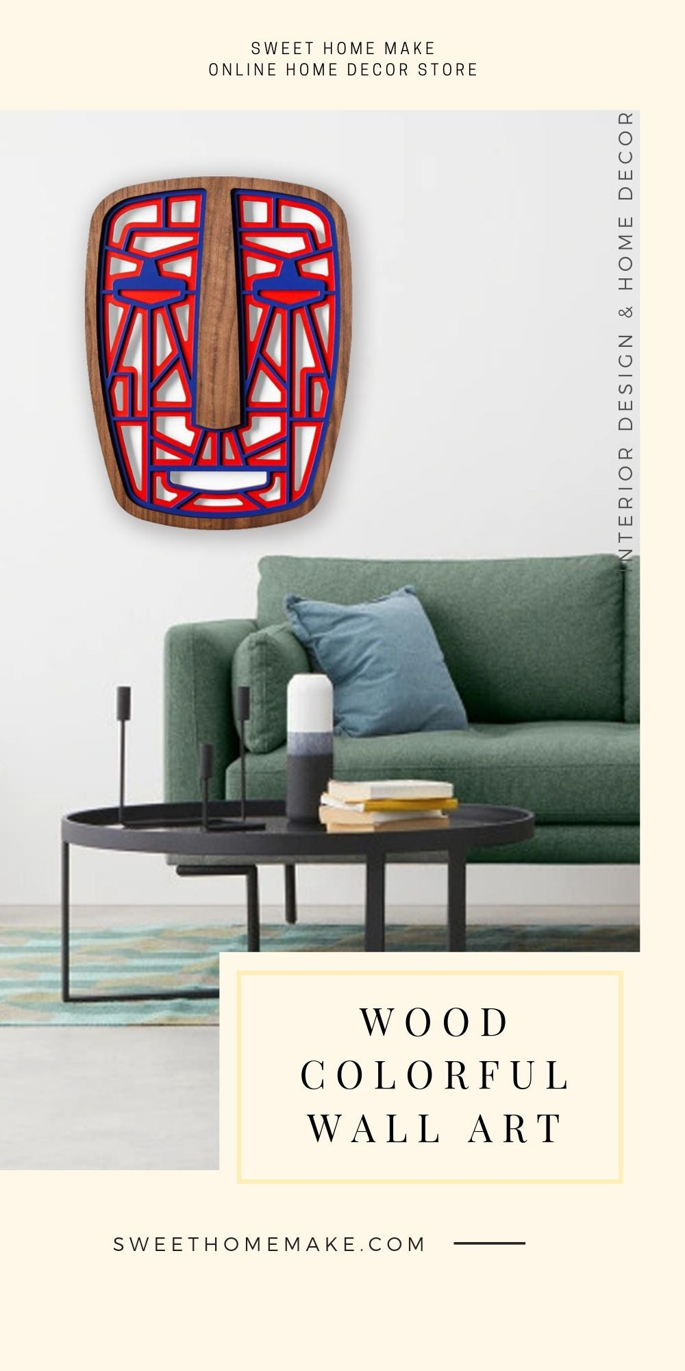African Wall Mask with Red and Blue Wall Art