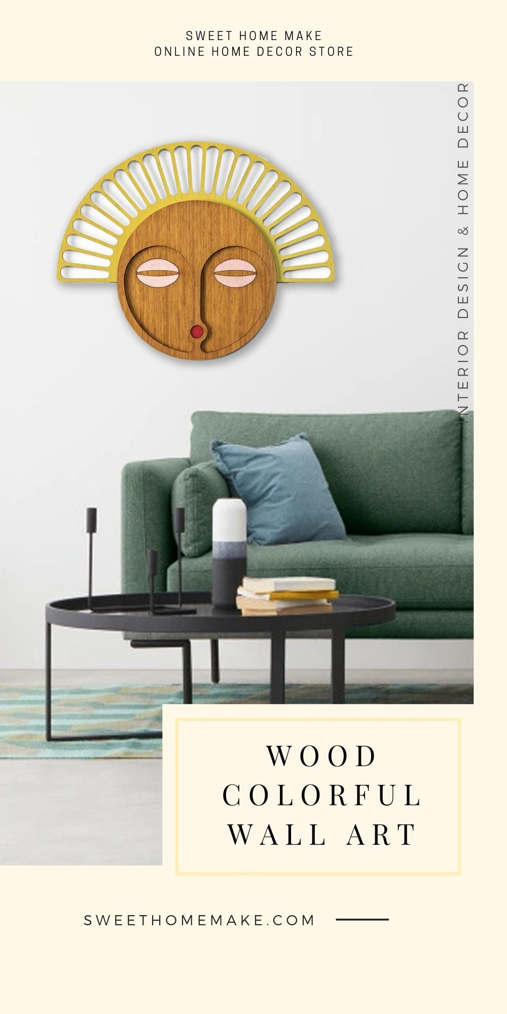 African Wall Mask with Tribal Style Wood Wall Art