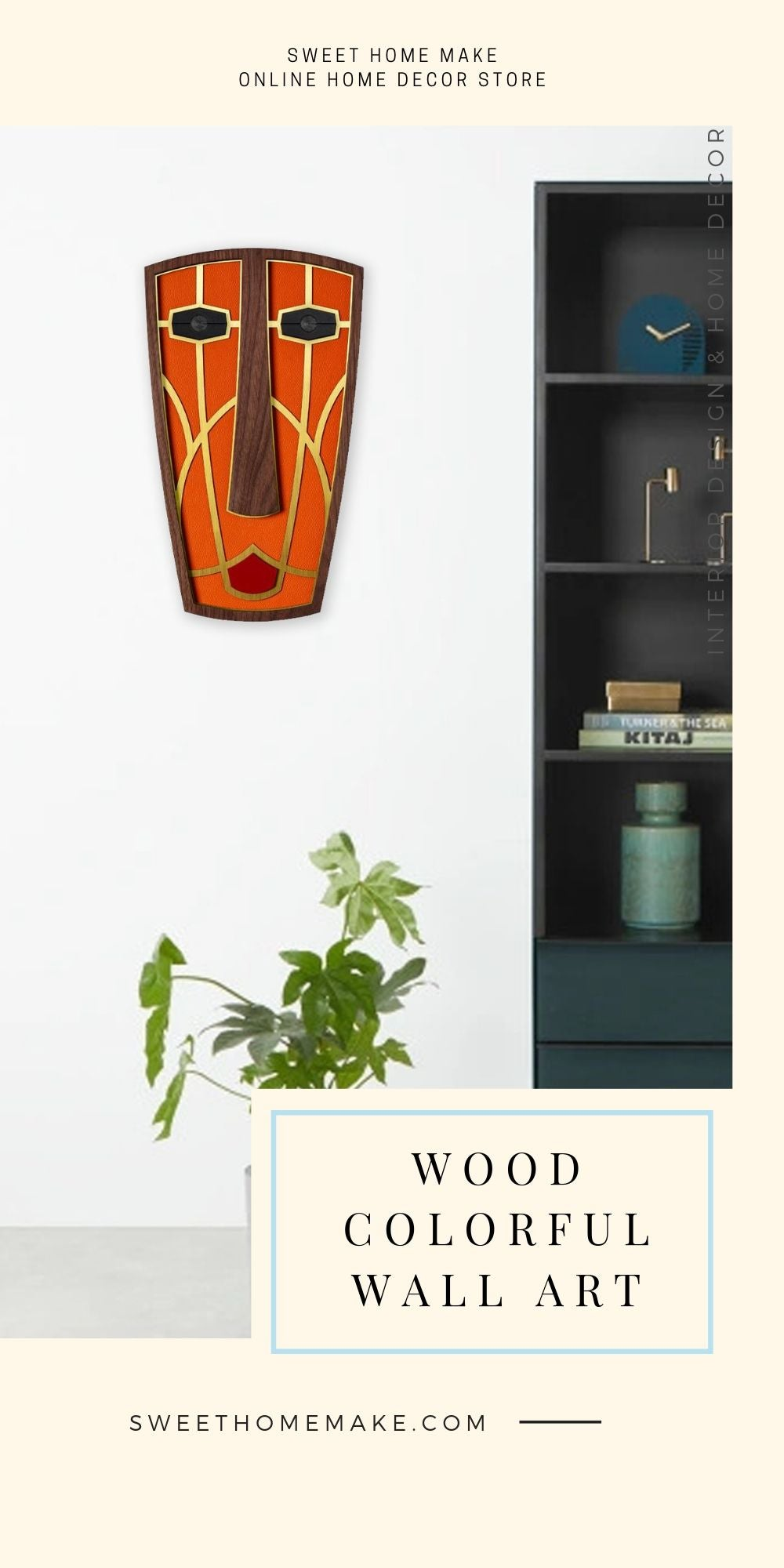 African Wall Mask with Wood Abstract Faces Modern Wall Art