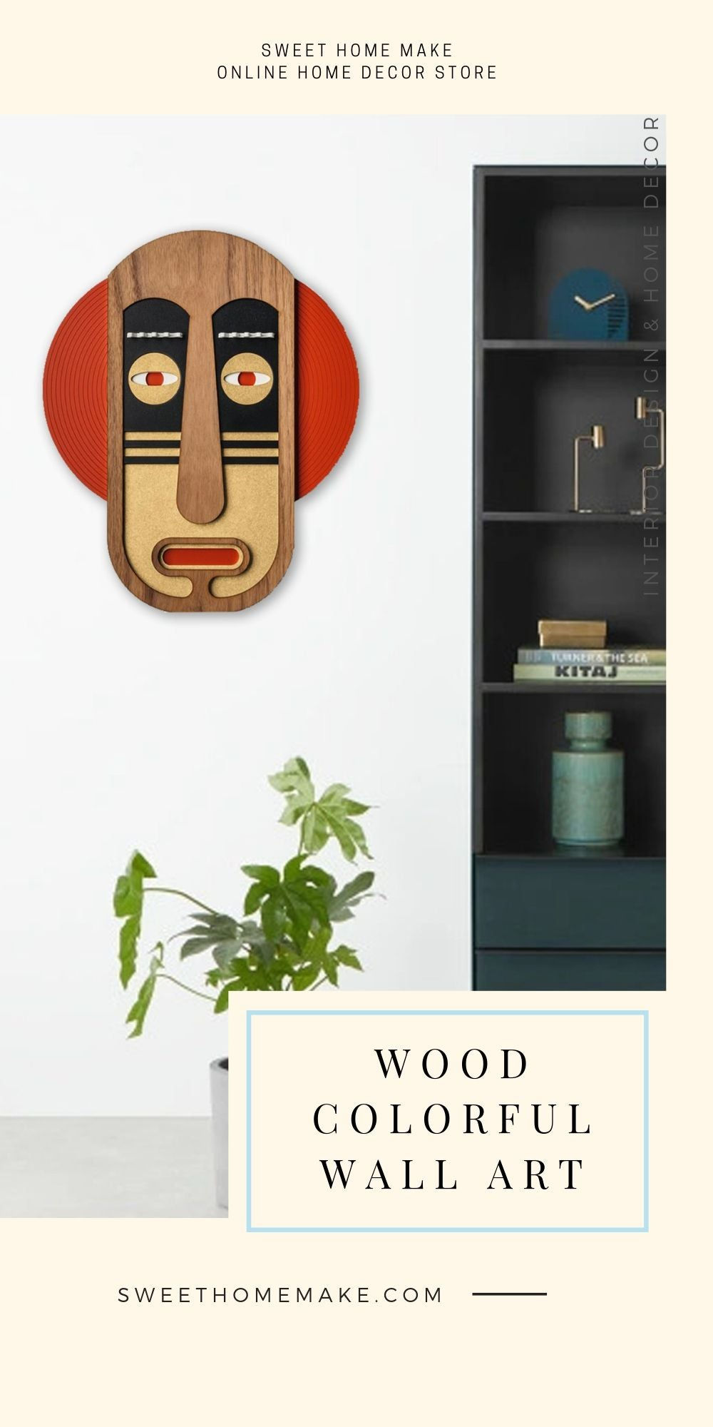 African Wall Mask with Wood Colorful Modern Wall Art