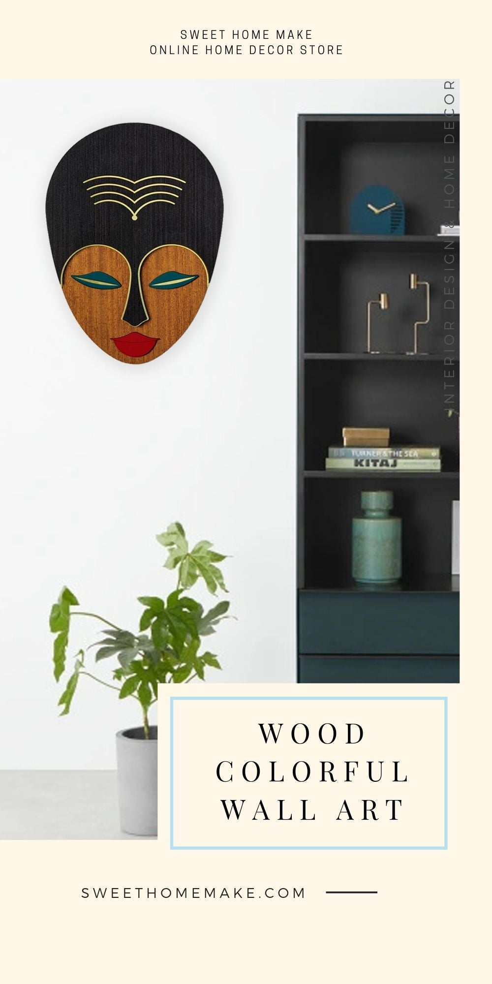 African Wall Mask with Wood Female Face Modern Wall Art