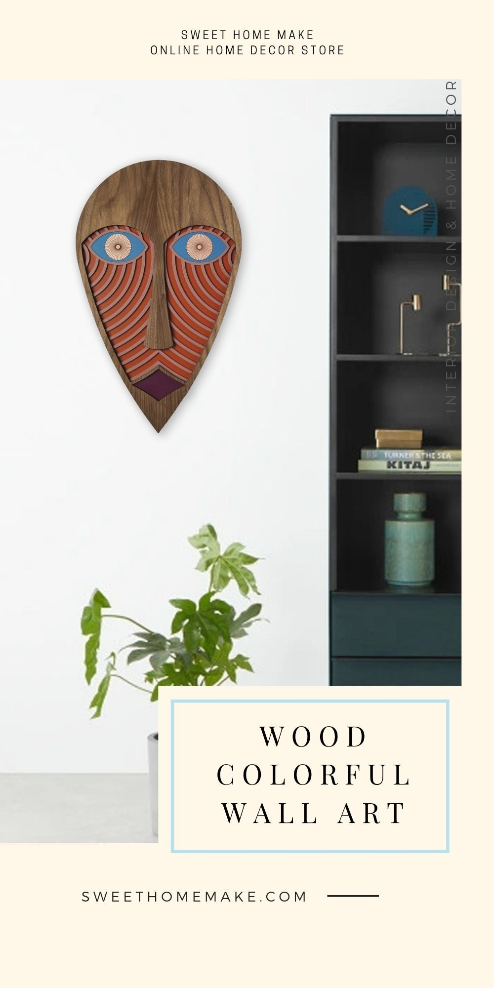 African Wall Mask with Wood Figurative Face Modern Wall Art