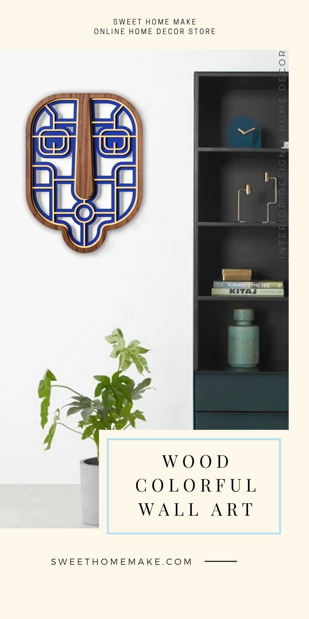 African Wall Mask with Wood Navy Blue Modern Wall Art