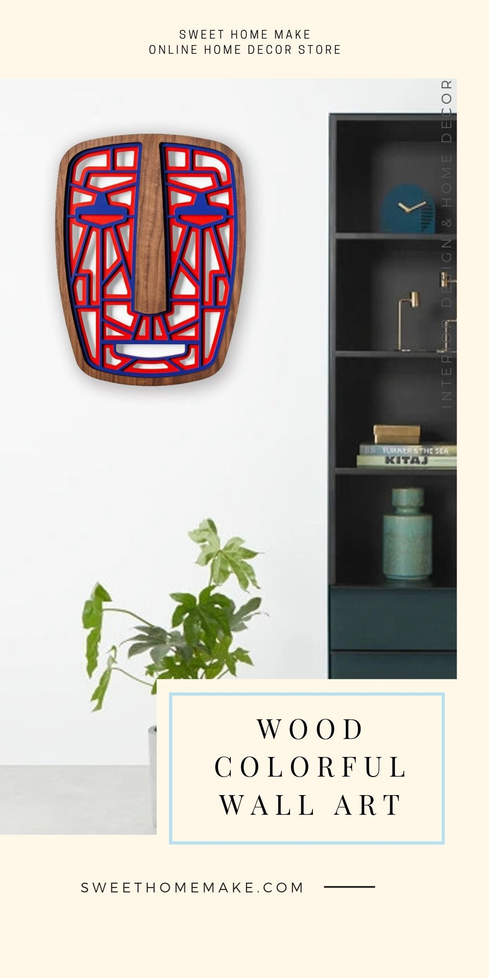 African Wall Mask with Wood Red and Blue Modern Wall Art