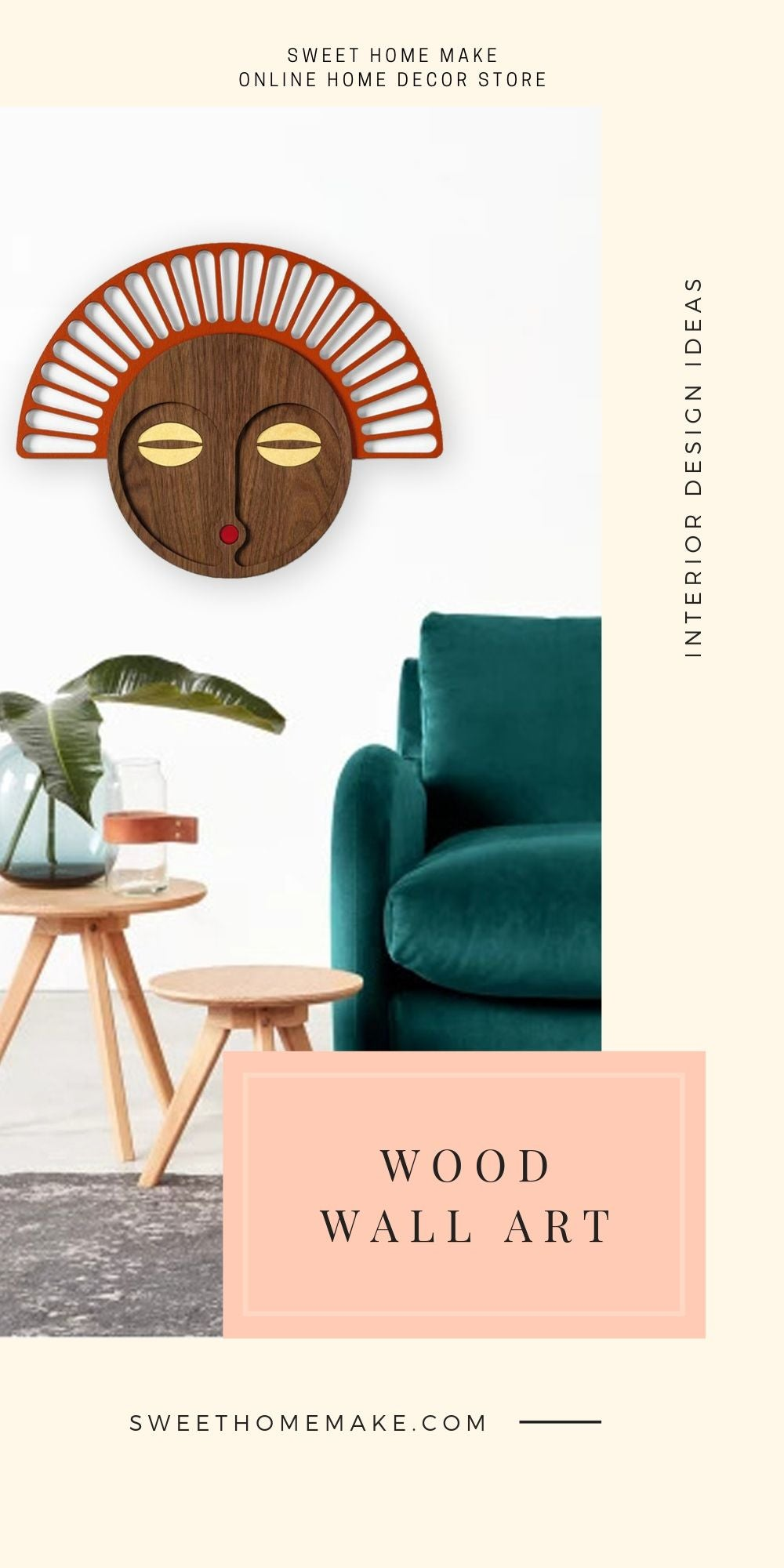 African Wall Mask with Wood Wall Art