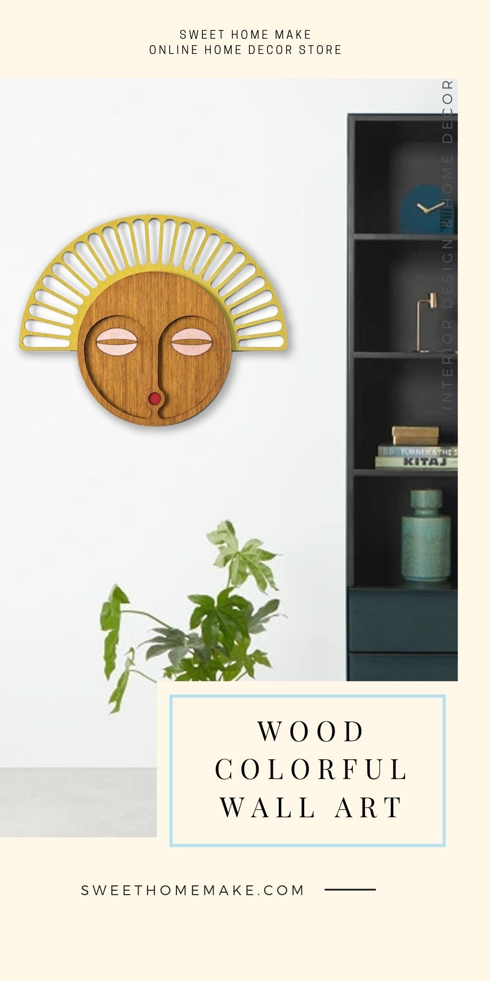 African Wall Mask with Wood Yellow and Brown Modern Wall Art