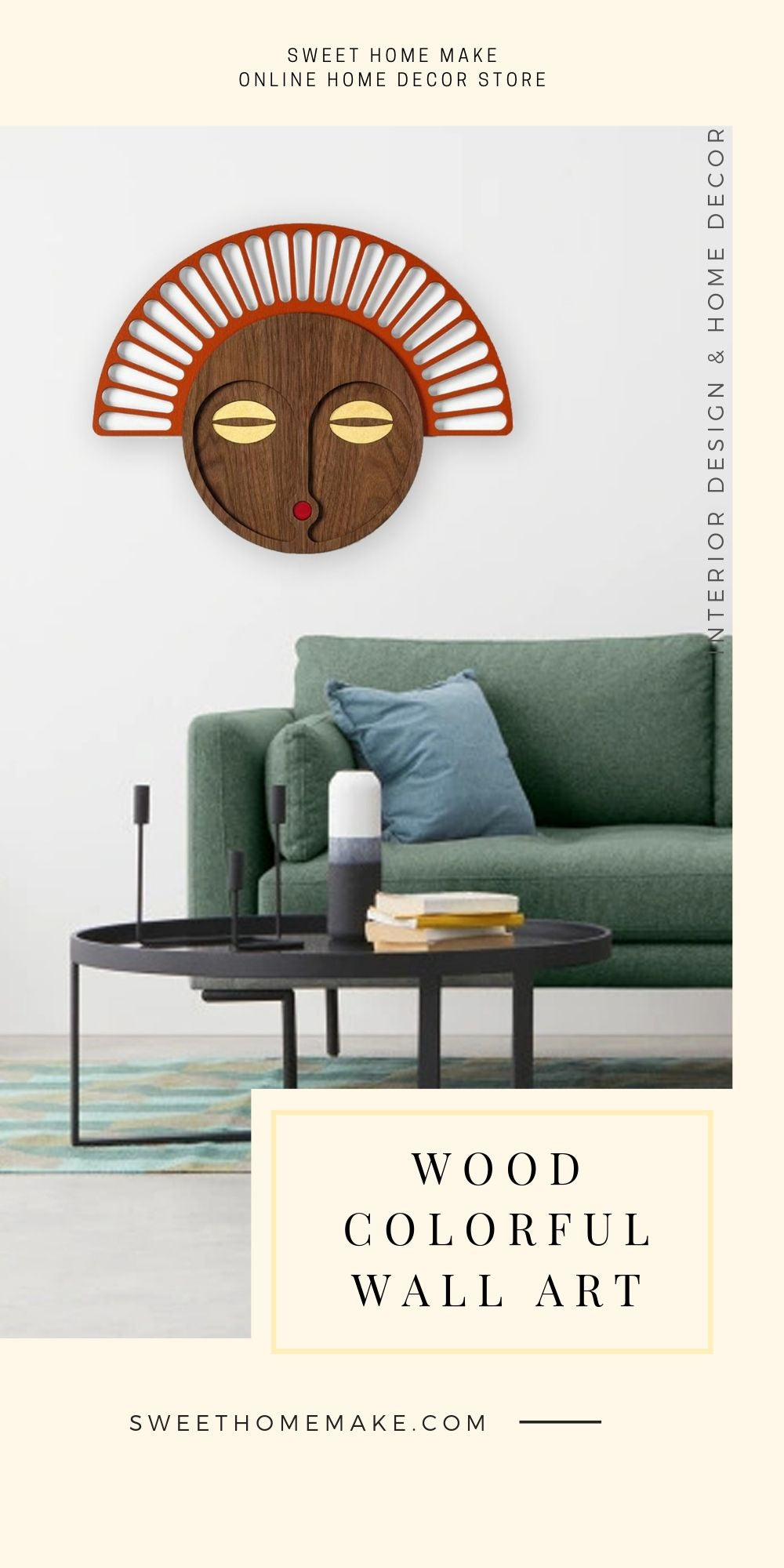 African Wall Mask with Wooden Wall Art