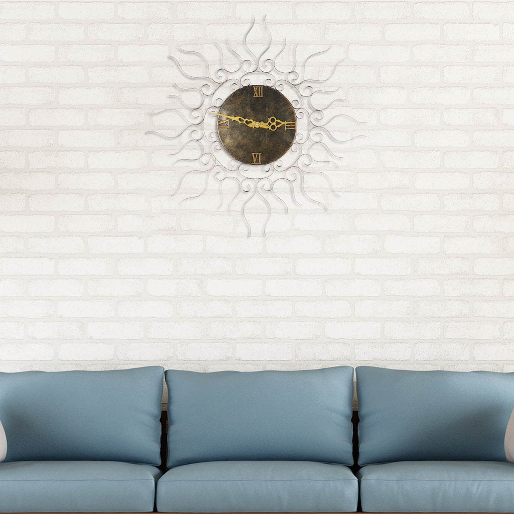 Black Metal Wall Clock and Round Wall Clock