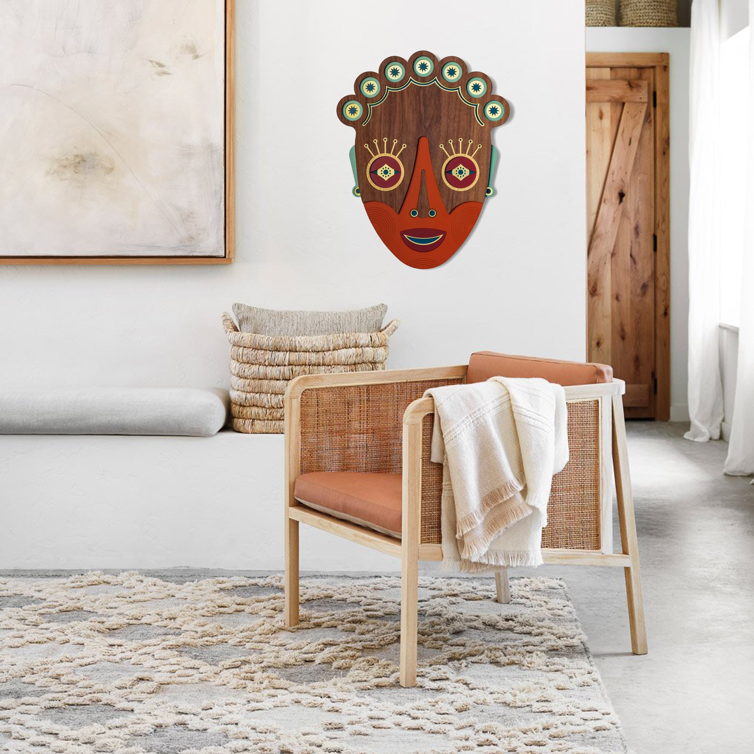 Artistic Journey to Cultural Colorfulness with Afrocentic Decor African Wall Art on Wooden Mask