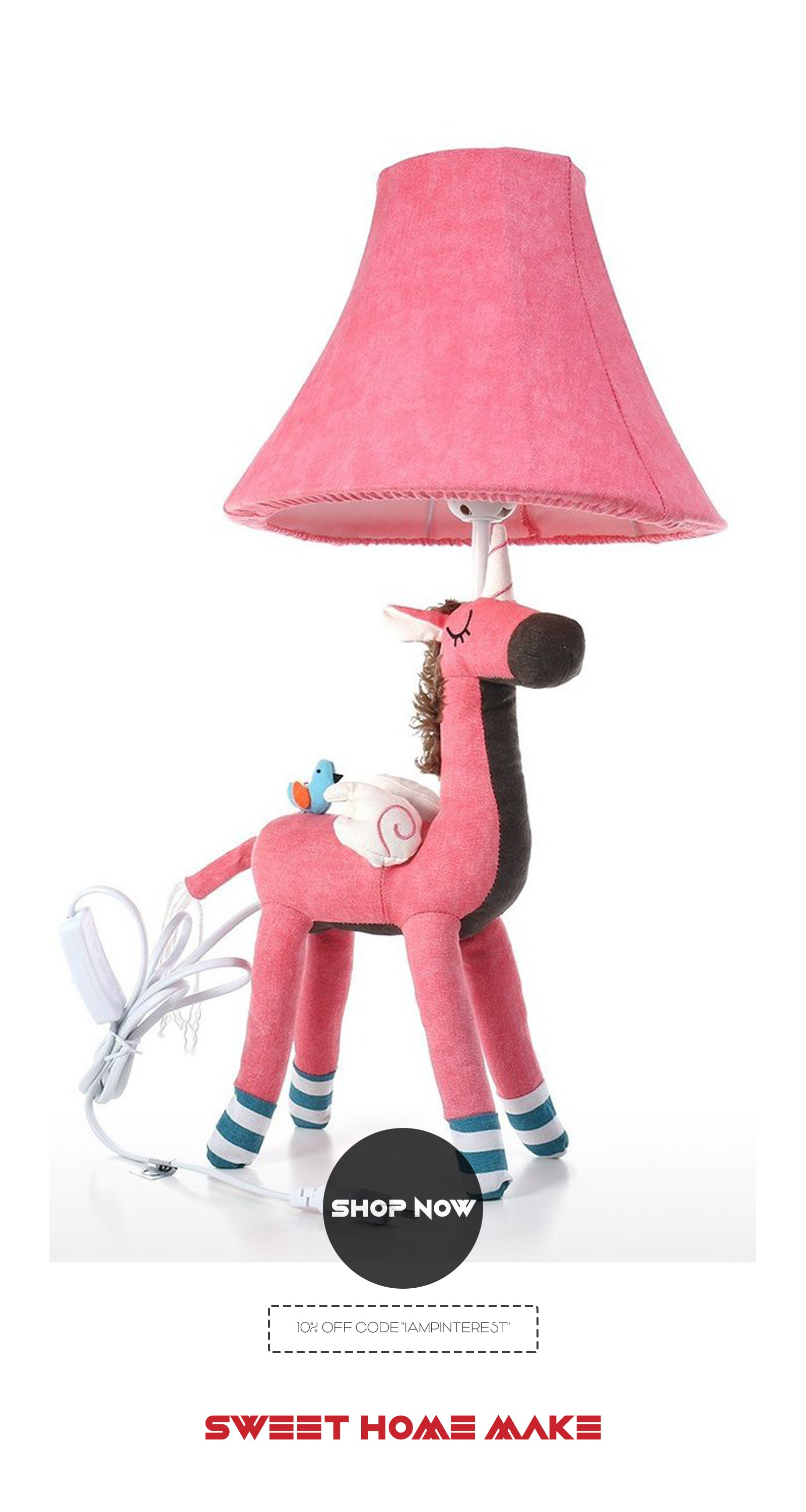 Bedside and Nightstand Lamp with Unicorn Pink Toy For Bedroom