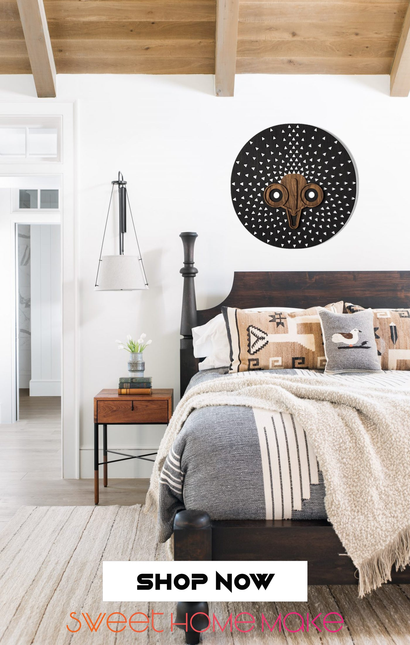 Black and White Carved Wood Wall Art at the Bedroom Design