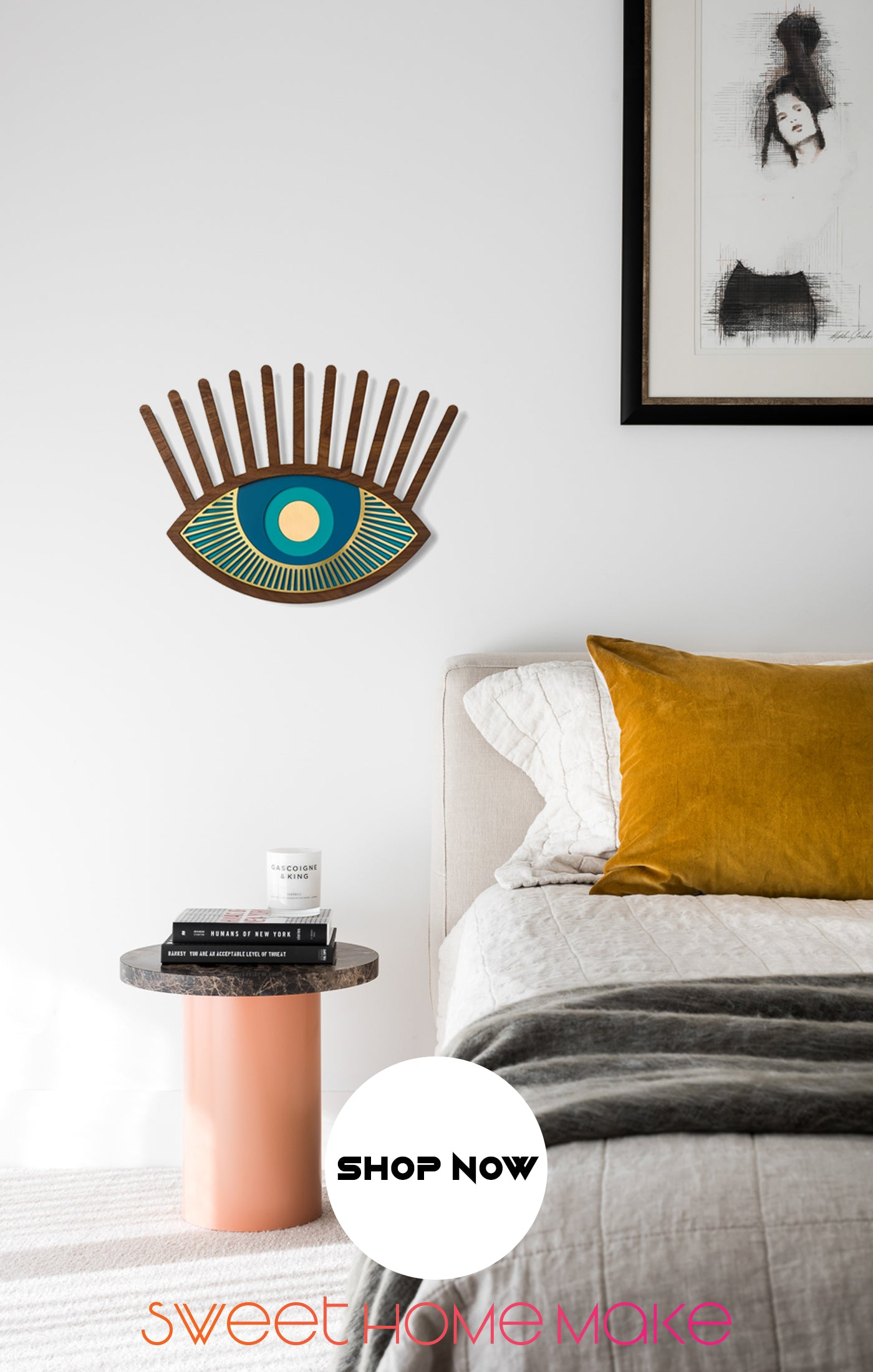 Blue Eye with Wood Eye Wall Art at the Bedroom Wall Decor